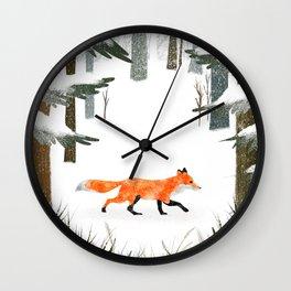 Fox In A Late Winter Snowfall Wall Clock
