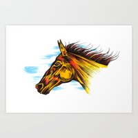 mustang Art Prints featuring Mustang by Sam Larson