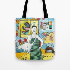 Man with cat in the kitchen Tote Bag