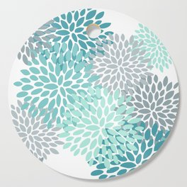 Floral Pattern, Aqua, Teal, Turquoise and Gray Cutting Board