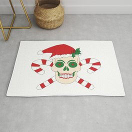 Creepy Christmas Santa Skull Rug