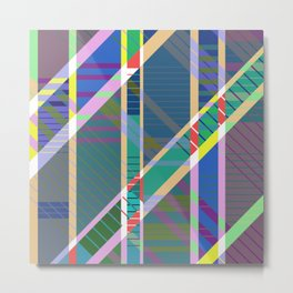 Pa5tel G30m3tri< - Geometric, tartan, pastel, abstract art Metal Print
