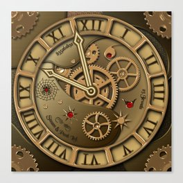 Steampunk clock gold Canvas Print