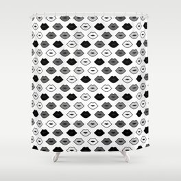 Chessboard Lips - Black and White Shower Curtain