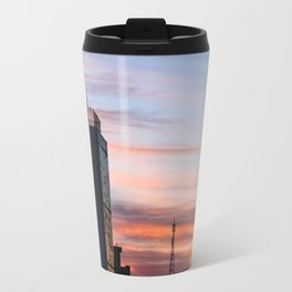 Beautiful sunrise in the city. Sunlight break down throughout the buildings and shine bright. Travel Mug
