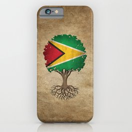Vintage Tree of Life with Flag of Guyana iPhone Case