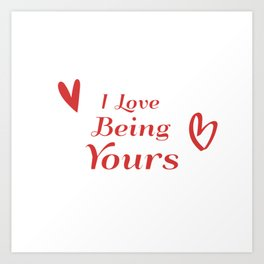 I Love Being Yours - Red Heart Doodle Pattern Art Print