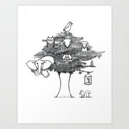 Animal Tree Art Print