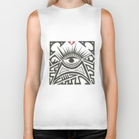 all seeing eye Biker Tanks featuring All seeing eye by Andready