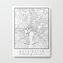 Washington DC Street Map Metal Print