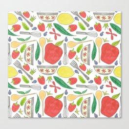 doodle style kitchen elements Canvas Print