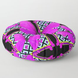 Fuchsia Satin Butterflies Pattern On Black Floor Pillow