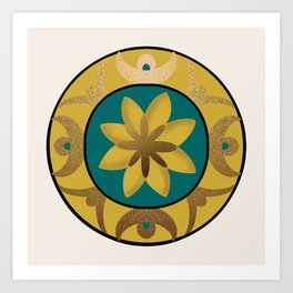 Sunburst Sunflower Geometric Mandala Design Art Print