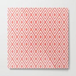 Coral Diamond Geometric Metal Print