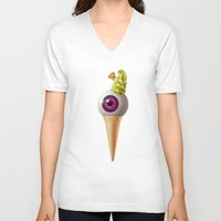 kawaii V-neck T-shirts featuring Kawaii by Etienne Chaize