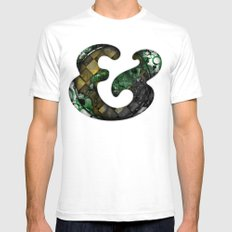 Ampersand Series - Cooper Std Typeface SMALL White Mens Fitted Tee