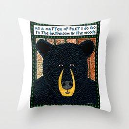 Bathroom Bear Throw Pillow