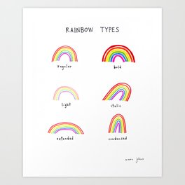 rainbow types Art Print