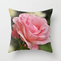 Pink wet rose Throw Pillow