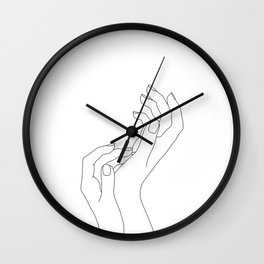 Hands line drawing illustration - Demi Wall Clock