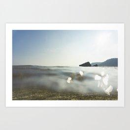 Clear Blue sea at Porthcurno, Cornwall Art Print
