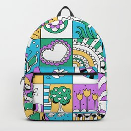 Inchie Doodle Design - Aqua Yellow - Spring Backpack
