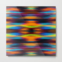vintage psychedelic geometric abstract pattern in orange brown blue yellow Metal Print