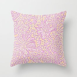 Marigold Lino Cut, Batik Pastel Pink And Orange Throw Pillow