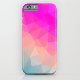 Dark Pink, Peach and Cyan Geometric Abstract Triangle Pattern Design  iPhone Case