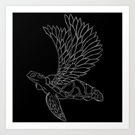 flying turtle black and white Art Print