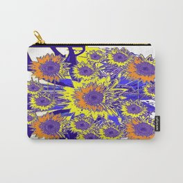 Sunflower Field Blue Shadows Abstract Carry-All Pouch