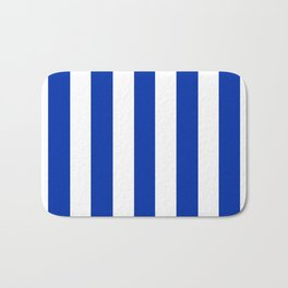 International Klein Blue - solid color - white vertical lines pattern Bath Mat