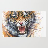 tiger Area & Throw Rugs featuring Tiger by Olechka