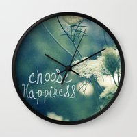 happiness Wall Clocks featuring Happiness by Sandra Arduini