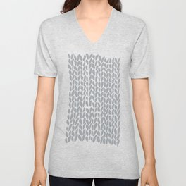 Hand Knit Zoom Grey Unisex V-Neck