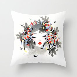 Chrysanthemum Mood Throw Pillow
