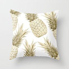 Gold Pineapple Bling Throw Pillow
