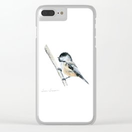 """""""Chicka-dee-dee-dee"""" a painting of a Chickadee by Teresa Thompson Clear iPhone Case"""