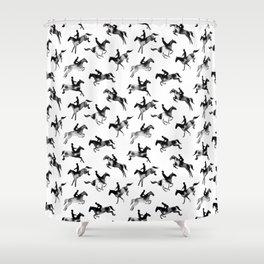 Watercolor Showjumping Horses (Black) Shower Curtain