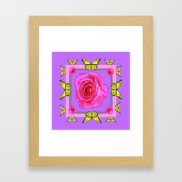 Lilac Art yellow Butterflies Rose Design Framed Art Print