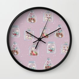 Christmas Pattern Pink Wall Clock