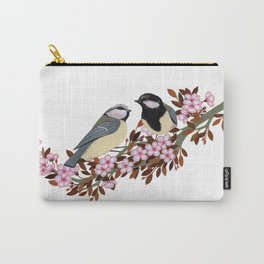 Chickadee Couple on Cherry Branch Carry-All Pouch