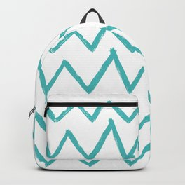 Hand-Drawn Zig Zag (Teal & White Pattern) Backpack