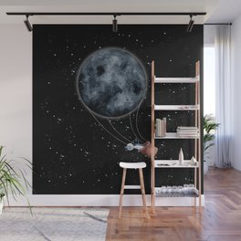 Have you Seen the Moon Art Print | Black Background Wall Mural