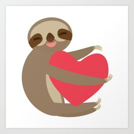 Funny sloth with a red heart Art Print