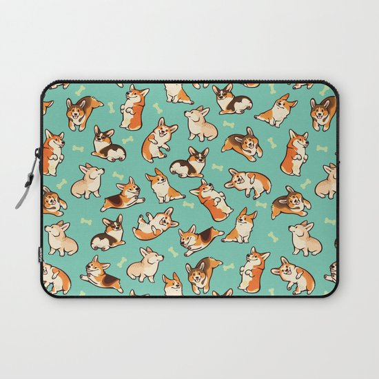 Jolly Corgis in Green by Colordrilos on Laptop Sleeve Laptop Sleeve