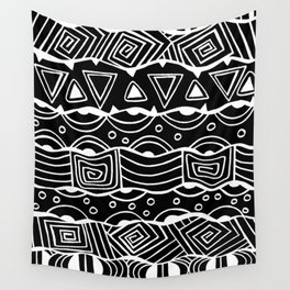 Wavy Tribal Lines with Shapes - White on Black - Doodle Drawing Wall Tapestry
