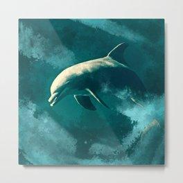 Watercolor Wild Dolphin  Digital Art Metal Print