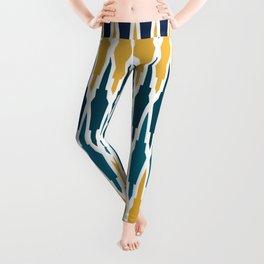 Boho, Geometric Pattern, Blue, Teal, Yellow and Gray Leggings