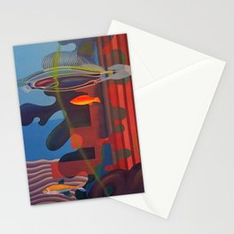 A Quiet Place Amid the Sea aquatic landscape painting by Hilaire Hiler Stationery Cards